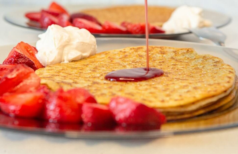 crepes and pancakes with strawberries