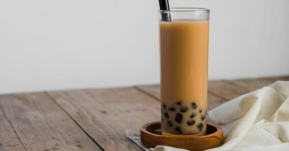 bubble tea in a glass with straw