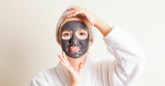 woman wearing a cleansing mask for blackheads